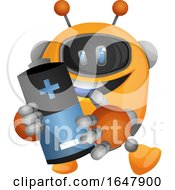 Orange Cyborg Robot Mascot Character Holding A Battery