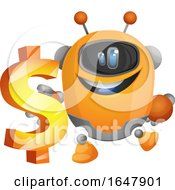 Orange Cyborg Robot Mascot Character Holding A USD Symbol by Morphart Creations