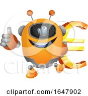 Orange Cyborg Robot Mascot Character Holding A Euro Symbol by Morphart Creations