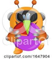 Orange Cyborg Robot Mascot Character Holding A Pie Chart