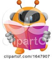Orange Cyborg Robot Mascot Character Reading A Book