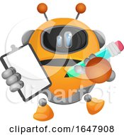 Orange Cyborg Robot Mascot Character Holding A Clipboard And Pencil by Morphart Creations