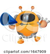 Orange Cyborg Robot Mascot Character Using A Megaphone