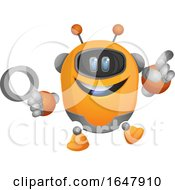 Cartoon Robot Holding A Magnifying Glass Illustration Vector On White Background