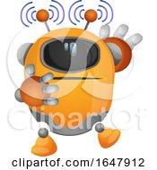 Orange Cyborg Robot Mascot Character Emitting Electromagnetic Waves