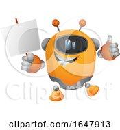 Orange Cyborg Robot Mascot Character Holding A Blank Sign