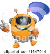 Orange Cyborg Robot Mascot Character Talking