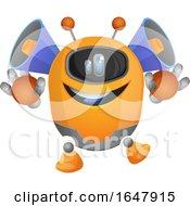 Orange Cyborg Robot Mascot Character With Speakers