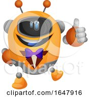 Orange Cyborg Robot Mascot Character Wearing A Tux