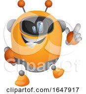 Orange Cyborg Robot Mascot Character Pointing