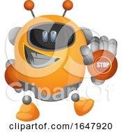 Orange Cyborg Robot Mascot Character Gesturing Stop