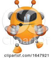 Orange Cyborg Robot Mascot Character Dancing