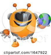 Orange Cyborg Robot Mascot Character Holding A Globe by Morphart Creations