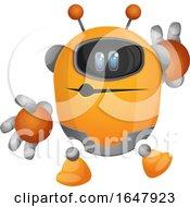 Orange Cyborg Robot Mascot Character Whistling