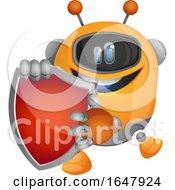 Orange Cyborg Robot Mascot Character Holding A Shield