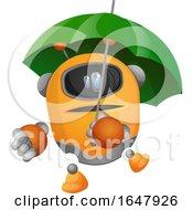 Orange Cyborg Robot Mascot Character With An Umbrella