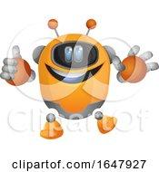 Orange Cyborg Robot Mascot Character Holding A Thumb Up