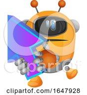 Orange Cyborg Robot Mascot Character Holding An Arrow