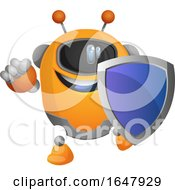 Orange Cyborg Robot Mascot Character Holding A Blue Shield