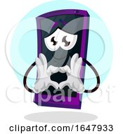 Cell Phone Mascot Character Forming A Heart With His Hands