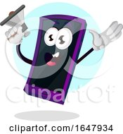 Cell Phone Mascot Character Announcing With A Megaphone