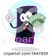 Cell Phone Mascot Character Holding Cash Money