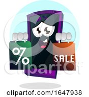 Cell Phone Mascot Character Holding Shopping Bags
