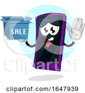 Cell Phone Mascot Character Holding A Sale Box