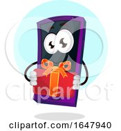 Cell Phone Mascot Character Holding A Gift by Morphart Creations