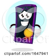 Cell Phone Mascot Character Wearing A Medal