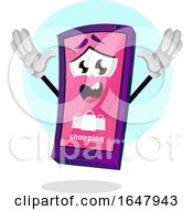 Cell Phone Mascot Character With A Shopping Screen