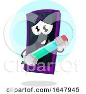 Cell Phone Mascot Character Holding A Pencil