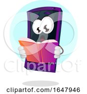 Cell Phone Mascot Character Reading A Book