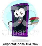 Cell Phone Mascot Character Holding A Stack Of Books