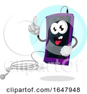 Cell Phone Mascot Character With Earbuds