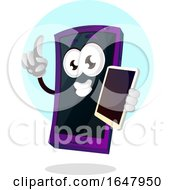 Cell Mascot Character Holding Another Phone