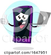 Cell Phone Mascot Character Holding A Laptop