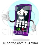Cell Phone Mascot Character Holding A Thumb Up