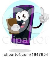 Cell Phone Mascot Character Holding A Clipboard