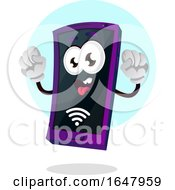 Cell Phone Mascot Character With A Wifi Signal