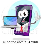 Business Cell Phone Mascot Character Holding A Laptop