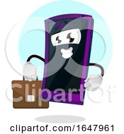 Cell Phone Mascot Character Carrying A Briefcase