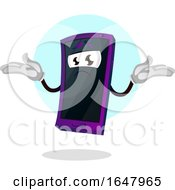 Cell Phone Mascot Character Shrugging
