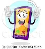 Cell Phone Mascot Character With Hands Up