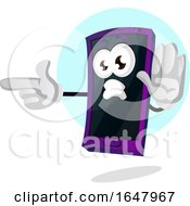 Cell Phone Mascot Character Pointing And Gesturing Stop