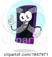 Cell Phone Mascot Character Holding Up A Finger