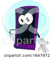 Cell Phone Mascot Character Gesturing With A Hand