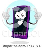 Cell Phone Mascot Character Holding Up Two Fingers