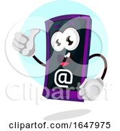 Cell Phone Mascot Character With An Email Symbol