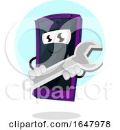 Cell Phone Mascot Character Holding A Spanner Wrench by Morphart Creations